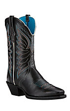 Ariat Womens Black with White Embroidery Western Punchy Toe Boots