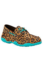 Ariat Women's Tan Leopard Print with Turquoise Trim Round Toe Shoe