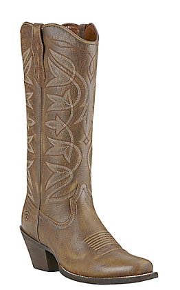 Ariat Women's Sheridan Vintage Brown and Gold Square Toe Western Boots