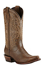 Ariat Alamar Women's Chocolate Lizard Print Western Snip Toe Boots