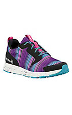 Ariat Women's Purple, Aqua, and Pink Striped Athletic Shoe