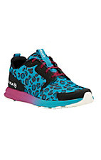 Ariat Women's Aqua Cheetah Print with Fushia Accents Athletic Shoes