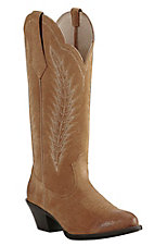 Ariat Women's Driftwood Tan with Cream Embroidery Western Round Toe Boots