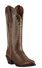 Ariat Women's Sassy Brown with Aqua Embroidery Western Round Toe Boots