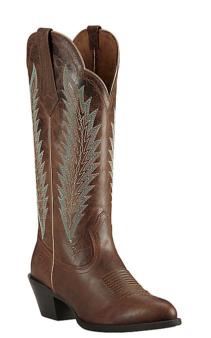 247c8136172 Ariat Desert Sky Women's Sassy Brown with Aqua Embroidery Western Round Toe  Boots