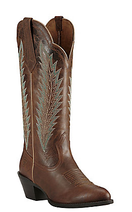 Ariat Desert Sky Women's Sassy Brown with Aqua Embroidery Western Round Toe Boots
