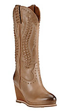 Ariat Women's Burnt Sugar with Laced Up Detailing Round Toe Fashion Wedge Boot