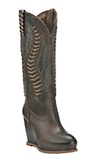 Ariat Women's Dark Chocolate with Laced Up Detailing Round Toe Fashion Wedge Boot