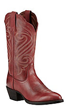 XKH Ariat Women's Warrior Red with Cream Embroidery Western Round Toe Boots