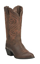 Ariat Women's Round Up Dark Toffee with Orange Embroidery Western Round Toe Boots