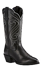 Ariat Women's Round Up Limousine Black with White Embroidery Western R-Toe Boots
