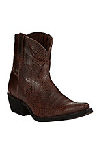 Ariat Women's Sassy Brown Shorty Western X Snip Toe Booties
