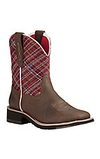 Ariat Fatbaby Heritage Women's Brown with Red Upper Square Toe Western Boots