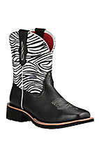 Ariat Fatbaby Heritage Women's Black with Zebra Print Upper Square Toe Western Boots