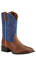 Ariat Men's Sport Western Brown with Royal Blue Upper Western Square Toe Boots