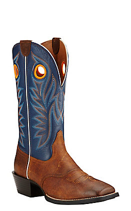 Ariat Sport Outrider Men's Pinecone and Federal Blue Wide Square Toe Western Boots