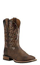 Ariat Men's Challenger Brown with Brindle Upper Western Wide Square Toe Boots