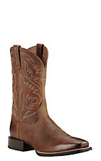 Ariat Men's Sport Herdsman Powder Brown Western Square Toe Boots