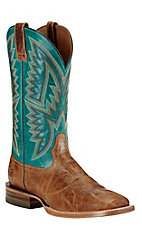 Ariat Men's Hesston Tan with Teal Upper Western Square Toe Boots