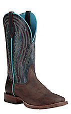 Ariat Men's Chute Boss Brown with Navy Upper and Red Embroidery Western Square Toe Boots