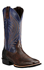 Ariat Men's Catalyst Prime Dark Brown with Blue Upper Western Wide Square Toe Boots