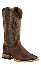 Ariat Men's Hesston Old Saddle Brown with Teal, Orange, and Yellow Embroidery Western Wide Square Toe Boots
