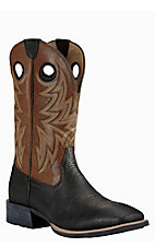 Ariat Men's Black with Brown Upper Western Square Toe Boots
