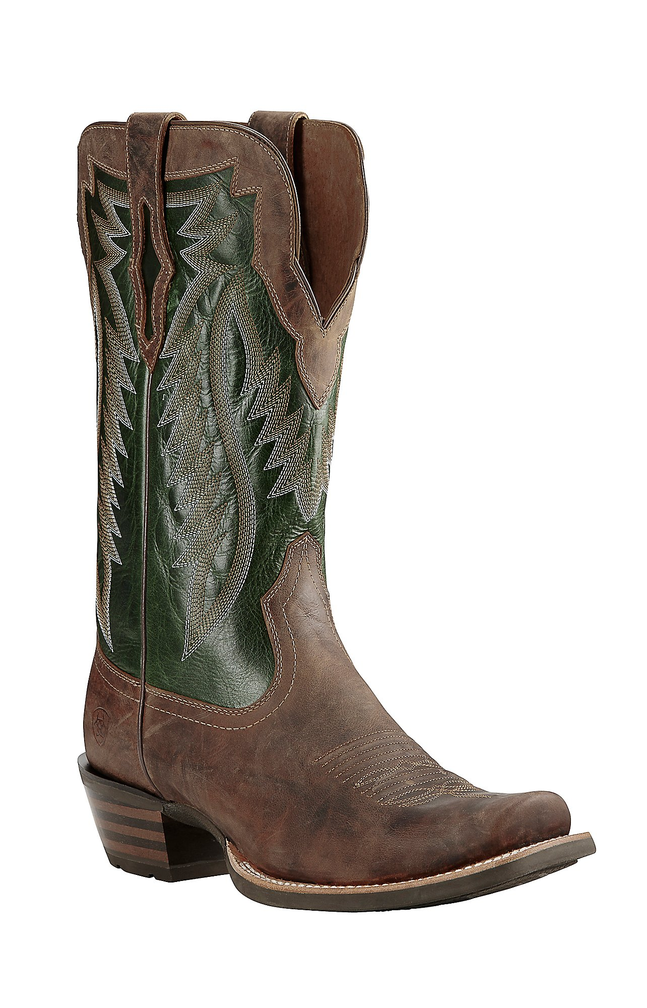 Ariat Men's Brown with Green Upper Western Square Toe | Cavender's
