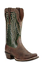 Ariat Men's Brown with Green Upper Western Square Toe