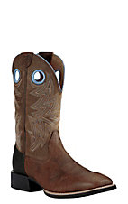 Ariat Men's Heritage Cowhorse Bar Top Brown with Woodsmoke Upper Western Wide Square Toe Boots