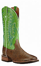 Ariat Men's Big Loop Tan Elephant Print with Green Upper Western Square Toe Boots