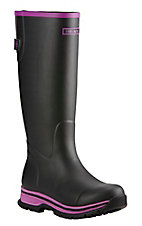 Ariat Women's Black with Purple Accents Tall Round Toe Rainboot