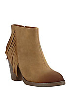 Ariat Women's Tan Suede with Side Fringe Round Toe Fashion Booties