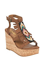 Ariat Women's Cognac with Fringe and Beading Accent Sandal Wedge Heels
