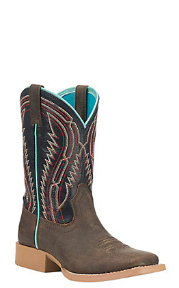 Ariat Youth Chute Boss Brown with Blue Upper Westen Wide Square Toe Boots