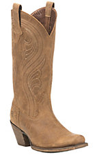 Ariat Women's Brown with Cream Embroidery Punchy Square Toe Boots