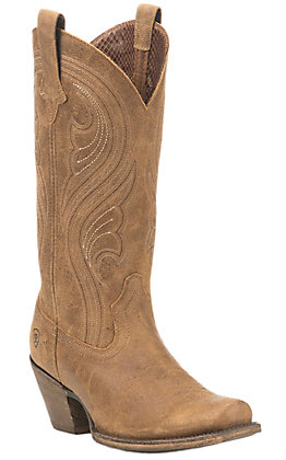 Ariat Women's Lively Brown with Cream Embroidery Punchy Square Toe Boots