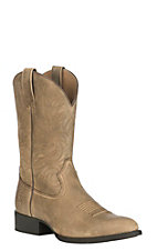 Ariat Men's Heritage Hickok Suede Brown Bomber Upper R-Toe Western Boot
