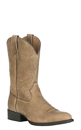 Ariat Men's Heritage Hickok Suede Brown Bomber Upper R-Toe Western Boot