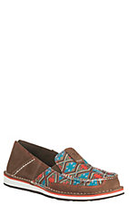 Ariat Women's Tan Suede with Aztec Print Cruiser Casual Shoes