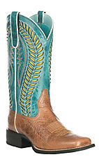 Ariat Women's Quickdraw Venttek Brown with Turquoise Upper Western Wide Square Toe Boots