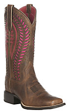 Ariat Women's Quickdraw Venttek Barn Brown Western Wide Square Toe Boots