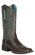 Ariat Women's Round Up Remuda Dark Brown Western Square Toe Boots
