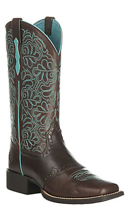 Ariat Women's Round Up Remuda Dark Brown Western Wide Square Toe Boots