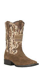 Ariat Youth Patriot Leather Antique Mocha Washed Suede Square Toe Boots