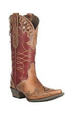 Ariat Women's Zealous Brown with Red Inlay Western X Snip Toe Boots