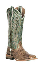 Ariat Women's Vaquera Tan Elephant Print with Green Upper Western Wide Square Toe Boots
