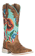 Ariat Women's Circuit Champion Dusty Brown with Turquoise Floral Print Western Wide Square Toe Boots