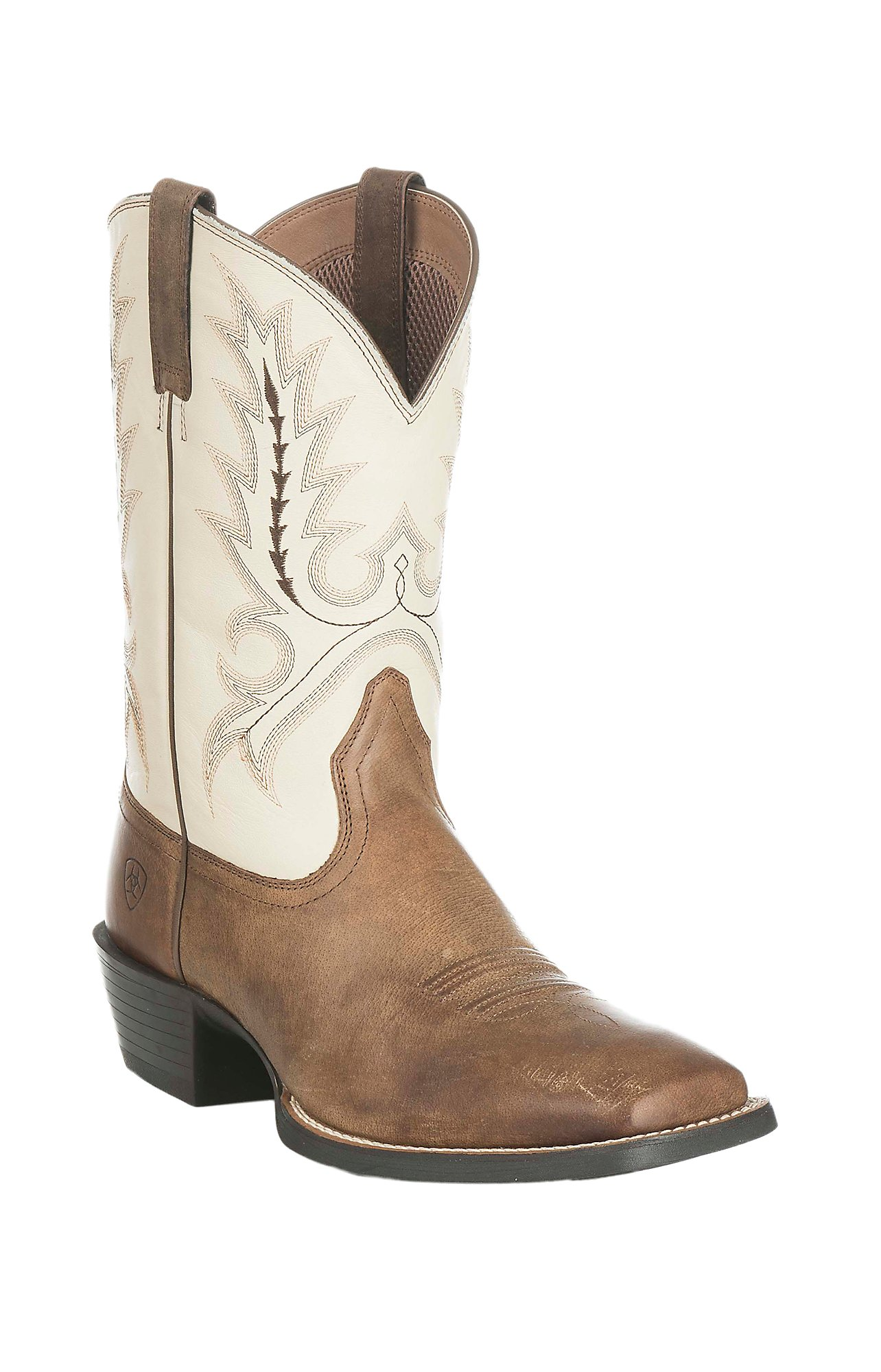 Ariat Men's Sport Outfitter Brown with Cream Upper Western Square ...