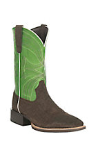 Ariat Men's Sport Western Dark Brown with Green Upper Western Square Toe Boots